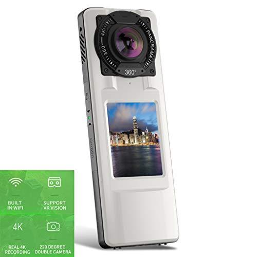 Forest leopard 720 ° Panorama-Action-Kamera, Kabellose WLAN-Kamera, 4K-Dual-Kamera in Bildqualität, 2,0-Zoll-LCD-Farb-Bewegungskamera, Unterstützung VR-Sichtfeld,+ Stativ + Ladegerät 4-ccd-dome