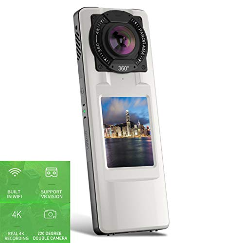 Forest leopard 720 ° Panorama-Action-Kamera, Kabellose WLAN-Kamera, 4K-Dual-Kamera in Bildqualität, 2,0-Zoll-LCD-Farb-Bewegungskamera, Unterstützung VR-Sichtfeld,+ Stativ + Ladegerät Farb-dome-video