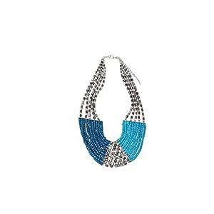 Collier Plastron Style Ethnique Hippie Indien Perles Bleues Turquoises