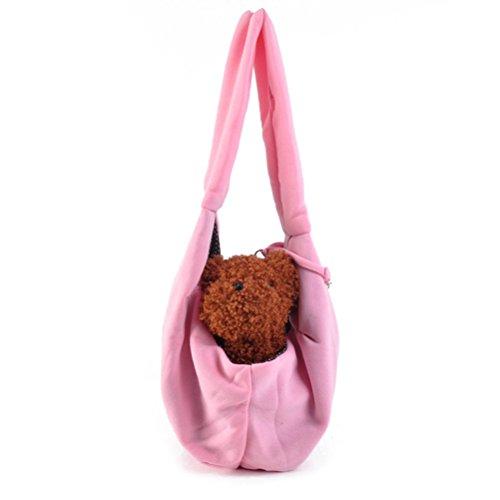 UEETEK Baumwolle Hände Kostenlos Hund Tragetasche Transport Tasche Beutel Einzelne Schulter Schultertasche Für Kleinen Hund Katze Kaninchen Rosa