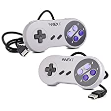 iNNEXT 2x Retro SNES Controller USB Gamepad PC-Controller Super Nintendo Controller für PC Mac OS Raspberry pi Windows ( Purple)