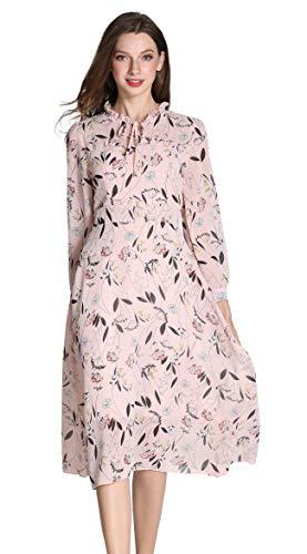 Shineflow Damen Sommer Blumendruck Lange Ärmel elastische Taille Plissee Kleid Knielänge (M, Rosa) (Abend, Sommer Kleid)