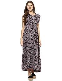 Mine4nine Women's Paislay print maxi maternity dress
