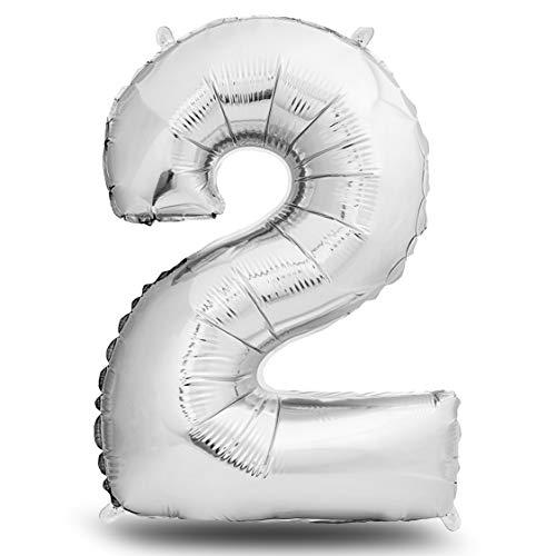deloono Folienluftballon Zahl XXL Silber I 101cm Geburtstagsdeko I Riesen Zahlenballon I Ballon Zahl Deko zum Geburtstag I fliegt mit Helium (Zahl 2)