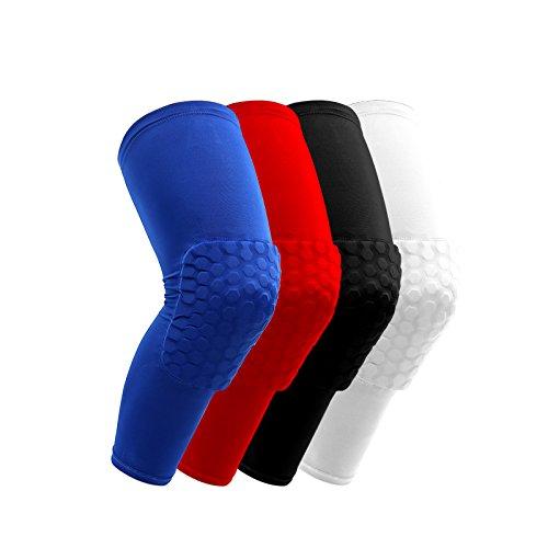 51ZMT Basketball Knieschoner Knie Protectoren Knieschützer Basketball Wadenbandage Sleeve Wadenbandage Knieprotektoren(Rot, M)