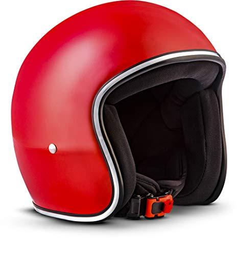 "Rebel · R2 ""Red"" (Rot) · Jet-Helm · Motorrad-Helm Retro Roller Mofa Scooter-Helm Chopper · Fiberglass · Extra small Shell · Click-n-Secure™ Clip · Tragetasche · XL (61-62cm)"