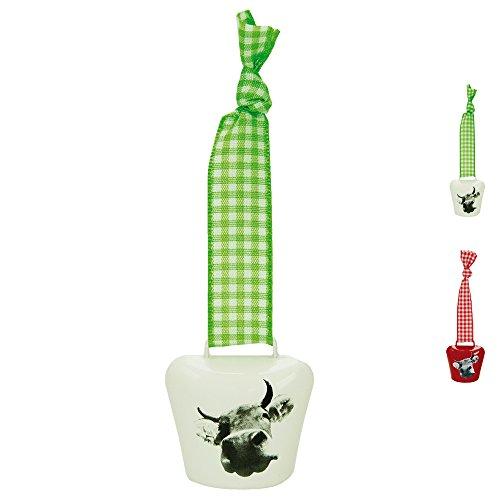 ebos Kuhglocke ✓ mit Karoband ✓ Größe 3 ✓ Schelle | Glocke | optimal als Schlüsselanhänger oder Taschenschmuck anwendbar | Allgäu- und Bavariasouvenir (Grün/Weiß) -