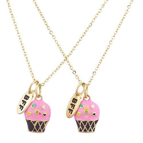 Lux Accessories Halsketten-Set für beste Freunde, Goldton, mit rosa Cupcakes (2-teilig) (Beste Freunde Halskette Set)