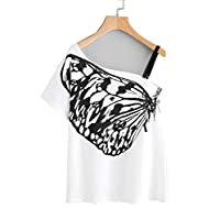 Butterfly Print Oblique Shoulder Tee With Strap Detail (white, S)