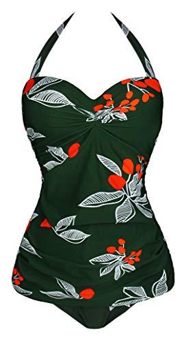 Einteiliger Neckholder Pin Up Monokini Badeanzug (Damengröße) - grün - (36 DE/38 DE) XL ()
