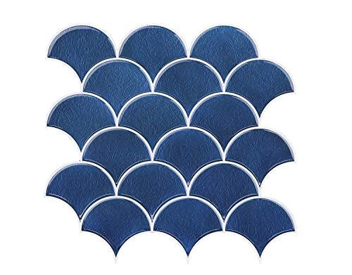 FUNWALTILES Funny Waltiles Wandfliesen mit Fischschuppen-Design, Anti-Schimmel, abziehen und aufkleben, 10 x 10 cm 4 Sheets blau -