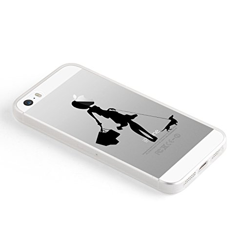 Coque iPhone SE Coque iPhone 5 5s coque silicone transparente | JammyLizard | Edition Limitée Noel - Coque transparente silicone pour iPhone SE et iPhone 5 5s, Kombi Van VW - Surfeur NOIR - PROMENADE