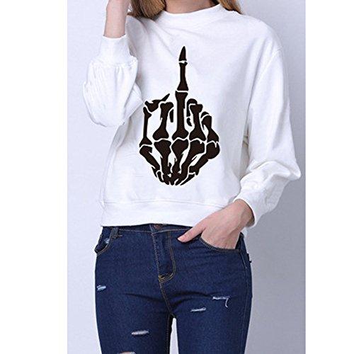 Q.KIM Unisex Donna Uomo Felpa Manica lunga Camicetta Lettera Pullover con stampa Sweatshirt Moda Tops S-3XL Fingers,Bianco