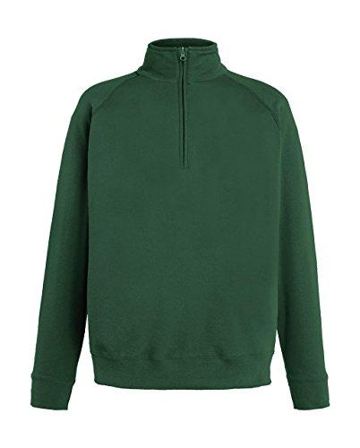 Fruit of the Loom Herren Sweatshirt Lightweight Zip Neck Sweat Bottle Green