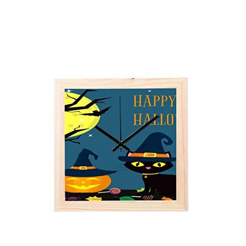 e hexen für Halloween Nicht tickt Platz stille Holz Diamant große Display digital Batterie wanduhren malerei zifferblatt für küche Kind Schlafzimmer Home Office Decor ()