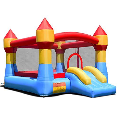 COSTWAY Hüpfburg Springburg Aufblasbares Trampolin Spielburg Komplett-Set, Outdoor Bouncer mit Rutsche, Spielhaus bunt