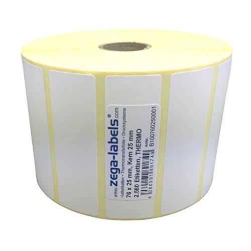 Thermo Etiketten auf Rolle - 76 x 25 mm - 2.580 Stück je Rolle - Kern: 25 mm - aussen gewickelt - permanent haftend - Druckverfahren: Thermodirekt (Drucken ohne Farbband) -