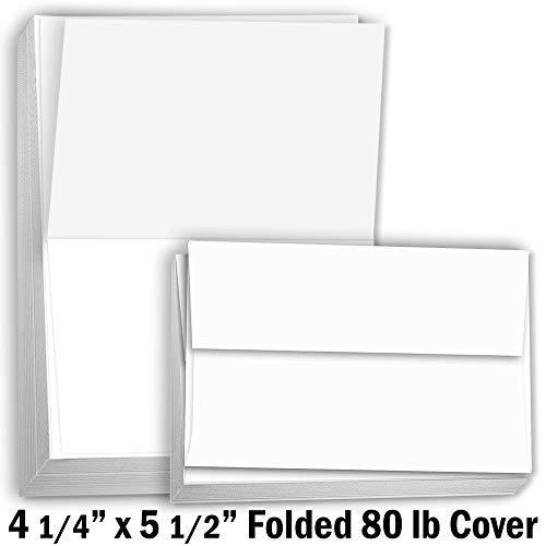hamilco weiß tonkartons Dickes Papier-41/4x 51/5,1cm blanko Doppelkarten mit Umschlägen-Grußkarte Einladungen Stationäre-Heavy Gewicht 80Lb Karte Lager für Drucker-100Pack (Papier Stationären Drucker)
