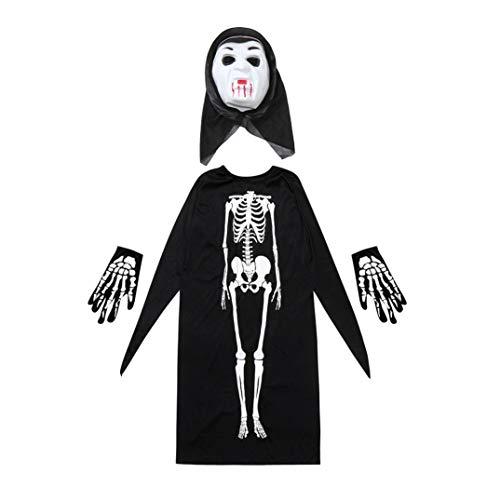 (Erwachsene/Kind Halloween Vampir Erwachsene Mantel Skelett Schädel Teufel Geist Robe Halloween Kostüm Skelett Mantel Umhang + Horror Maske + Handschuhe drei Stücke von Halloween Cosplay Prevently (Colour F, Männlich und weiblich))