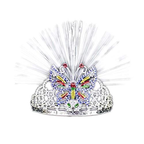 YeahiBaby WeihnachtenHaarreifmitLichtLEDStrass/Kristall KroneTiaraStirnband für Neujahr SilvesterParty Kinder Mädchen Erwachsene Kostüm (Schmetterling)