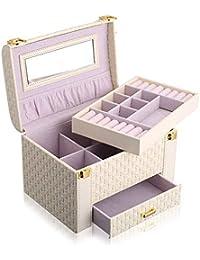 Lindou Joyería Oganiser Exquisite Lock Joyero de Almacenamiento para Mujer, Espejo de Piel sintética Brillante