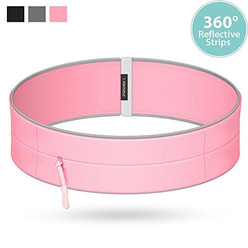 Tragbarer Laufgürtel, Workout Taille Pack für iPhone Xs Max XR X 8 7 6 6s Plus, Samsung Galaxy S9 S8 S7 S6 A8 Plus, Runner Taillenband Handyhalter für Joggen Walking - Schwarz Grau Pink, rose, Large