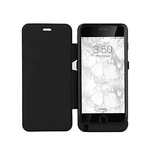 Lenuo 10000mah Akku Hülle für iphone6 Plus/6S plus mit Flip Cover für Video sehen 4-in-1 External Batterie Power bank Backup Power Case mit Halterung für iPhone iphone6 Plus/6S plus-5,5 Zoll (schwarz) Batterie-backup Iphone 4