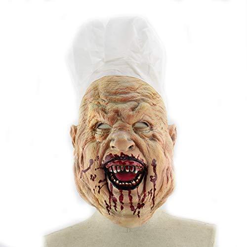 aske, Blutige Verrückte Chef Halloween Horror Maske Amazon Außenhandel Latex Wig Haunted Haus Dress Up Wig, Halloween Maske Teufel Latex ()