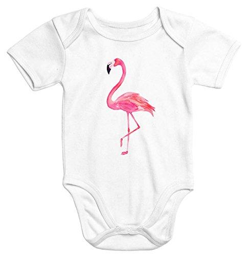 Bio-onesies (Baby-Body Flamingo Aufdruck kurzarm Babybody Bio-Baumwolle Onesie Einteiler Moonworks® weiß 0-3 Monate)