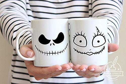 Halloween Mug, Nightmare Before Christmas, Couples Mug, Jack Sally, Halloween, Wife Gift Idea, His and Hers, Christmas Mugs, Skellington
