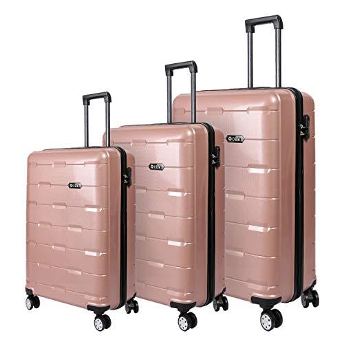 Set valigie da viaggio in Polipropilene - Trolley Rigidi e Leggeri con 4 Ruote - 55x40x22 Bagaglio a Mano/Bagaglio medio/Bagaglio grande da stiva (Oro Rosa, Set di 3 (181L))