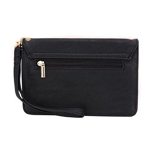 conze de femmes d'embrayage portefeuille tout ce sac avec bretelles pour Smart Téléphone pour Samsung Galaxy A7/Duos gris noir