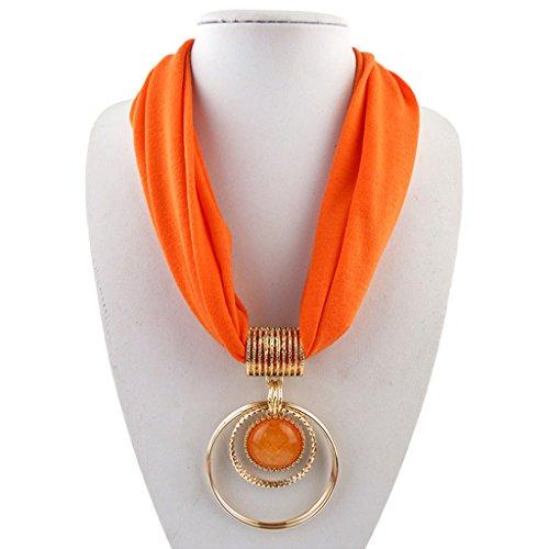 Faux Kaschmir-pullover (ZOOMY Kurzer Schal Legierung Vintage Faux Kristall Creolen Anhänger Kragen Kette Halskette - Orange)