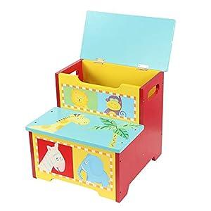 Spielzeugkiste, Trittleiter Aufbewahrungshocker Truhenbank Spielzeugbox Aufbewahrungs-Truhe mit Stauraum, Spielzeug…