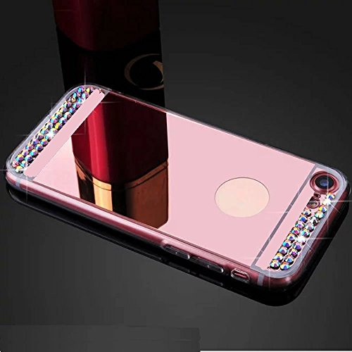 Coque Diamant Miroir Silicone TPU Galaxy S6 Edge,Mirror Coquille pour Samsung S6 Edge,Leeook Noble Elegant Cool Bling Briller étincellement Glitter Coloré Diamond Rose Or Semi Rigide Coque Effet Miroir Etui TPU Téléphone Coque Coquille de protection Flex Soft Gel en Caoutchouc Bumper Shockproof Anti Scratch Housse Pailletee Rigid Back Cover pour Samsung Galaxy S6 Edge + 1 x Noir Stylet-Rose Gold