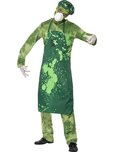 erdbeerclown - Herren Männer Kostüm Nuklear verstrahlter Bio Chemiker Hose Oberteil Schürze Mütze Maske und Handschuhe, Bia Hazard Accident, perfekt für Halloween Karneval und Fasching, M, Grün (Nukleare Mann Kostüm)