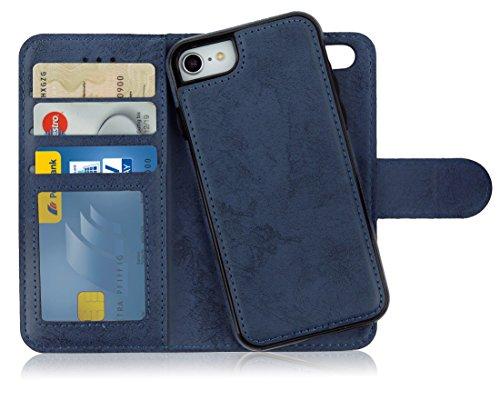 MyGadget Flip Case mit Back Cover [2 in 1] für Apple iPhone 7/8 - Magnetische Hülle in PU Leder Klapphülle - Kartenfach Schutzhülle Wallet - Blau Apple Iphone Magnet Flip Case