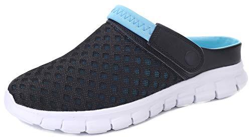 Yooeen Unisex Hausschuhe Clogs Sandalen Atmungsaktiv Mesh Pantoletten Outdoor Sommer Strand Schuhe Flache Rutschfest Bequem für Herren Damen Kinder, Schwarz+blau, 47 EU