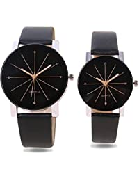 Unique Hunt | Crystal Glass Black Color Dial With Black Color Leather Strap | Coupel Watch For Men;s And Women's
