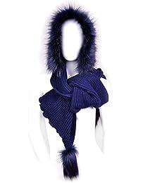 Futrzane Mujer Con Capucha Sombreros Bufanda De Lana De Piel