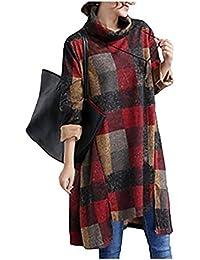 QBQ cuello alto de la tortuga de las mujeres impresas de manga larga vintage jersey irregular