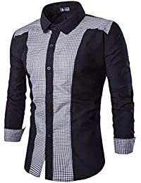 BUSIM Men's Long Sleeve Shirt Oxford Dress Casual West Slim Fit Buttons Lapel T-Shirt Personalized Tops Comfortable...