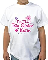 Girls Personalised 'Big Sister' Butterfly T-Shirt