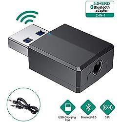 CABLETRANS Bluetooth Adaptateur, Transmetteur & Récepteur 2 en 1 5.0 Dongle USB Adaptateur Audio Hi-FI avec câble de 3,5 mm pour Casque/Haut-Parleur/PC/TV/Voiture/Maison (USB Just for Power (Noir)