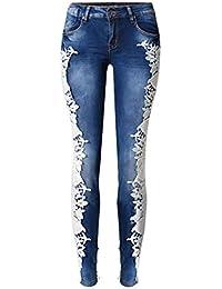 81b92094ea Kerlana Jeans Ajustados de Talle bajo con Encaje Lateral Doble de Talle  bajo para Mujer