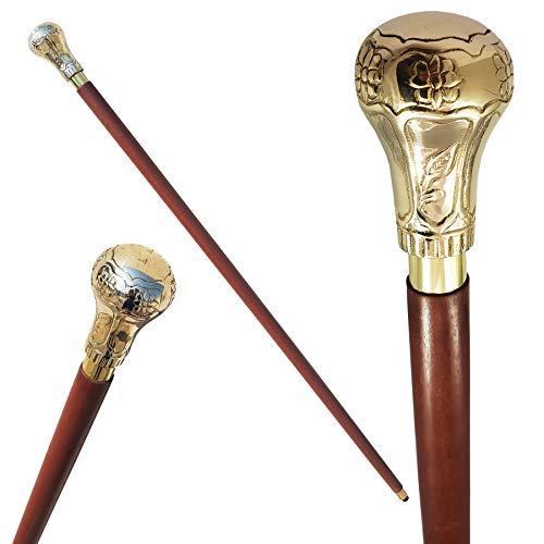 Bella ottone manico bastone da passeggio in legno cane Strong bastone in palissandro indiano