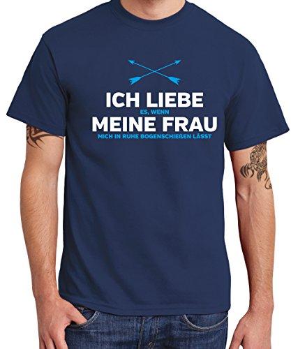 clothinx - Ich Liebe Meine Frau (Bogenschießen) - Boys T-Shirt Navy, Größe L - Dynasty Spas