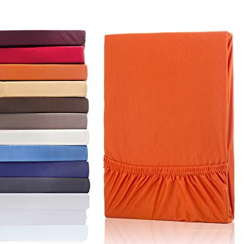 #2 Etérea Classic Microfaser Interlock Spannbettlaken, Spannbetttuch, Bettlaken, 9 Farben, 180x200 - 200x200 cm, Orange