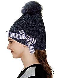 ff0ef0174c1 Devil Women s Beanies Slouchy Winter Knit Skull Cap Beanie hat Racoon Real  Fur Pom pom Chunky