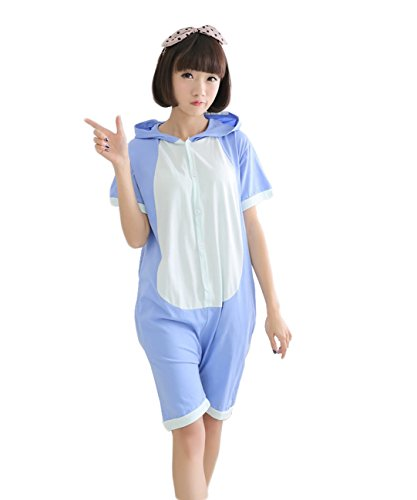 Männer und Frauen, niedlich und schön Sommer Unisex Cartoon Cotton Anime Tier Pyjamas Cosplay Adult Lovers Nachtwäsche Pyjama Sets (L, Blue Stitch) (Niedlich Pikachu Kostüm Frauen)